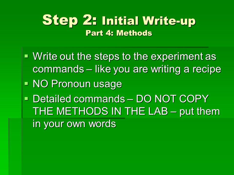 lab write up steps