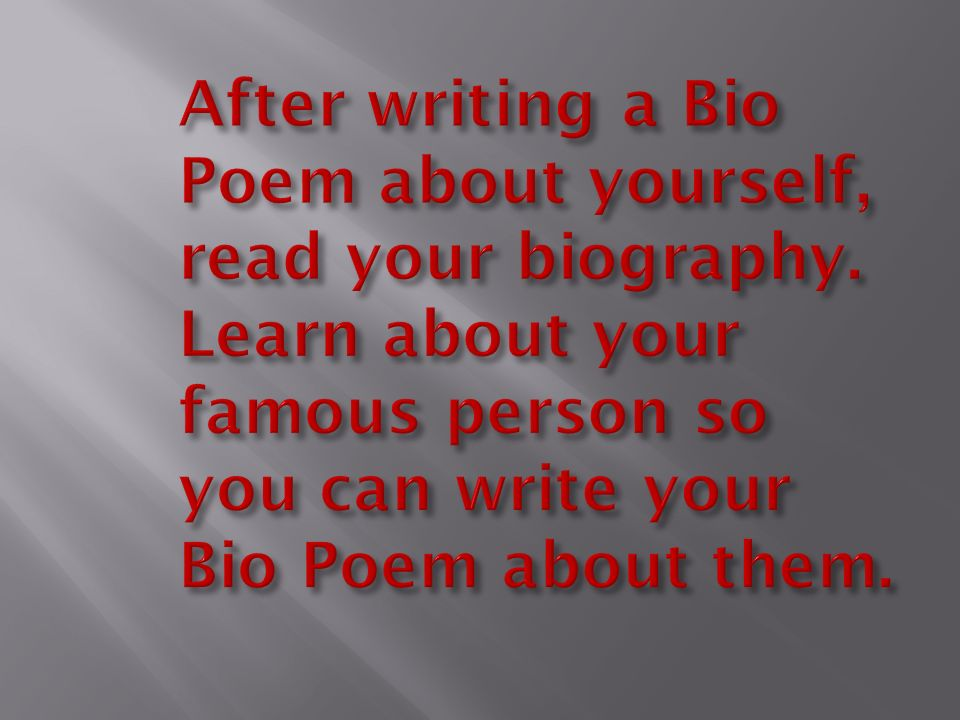 Bio Poem Template For High | Bio Poems Ppt Download