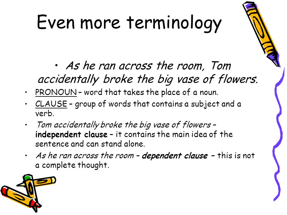 Even more terminology As he ran across the room, Tom accidentally broke the big vase of flowers. PRONOUN – word that takes the place of a noun.
