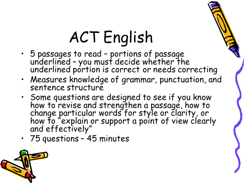 ACT English 5 passages to read – portions of passage underlined – you must decide whether the underlined portion is correct or needs correcting.