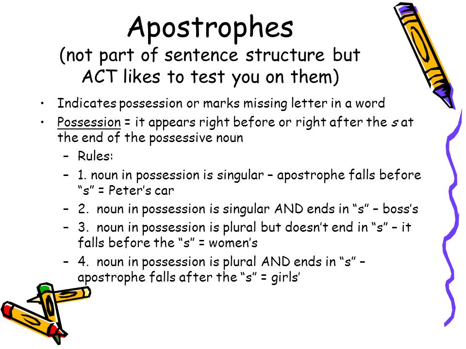 Apostrophes (not part of sentence structure but ACT likes to test you on them)