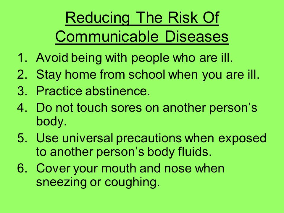 Reducing The Risk Of Communicable Diseases