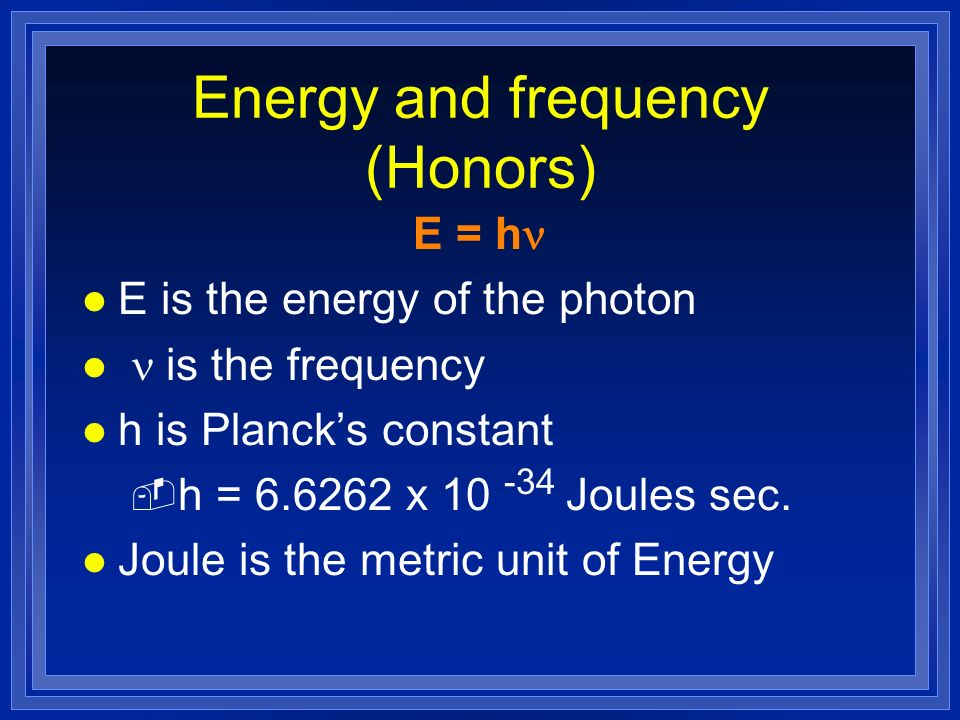 Energy and frequency (Honors)