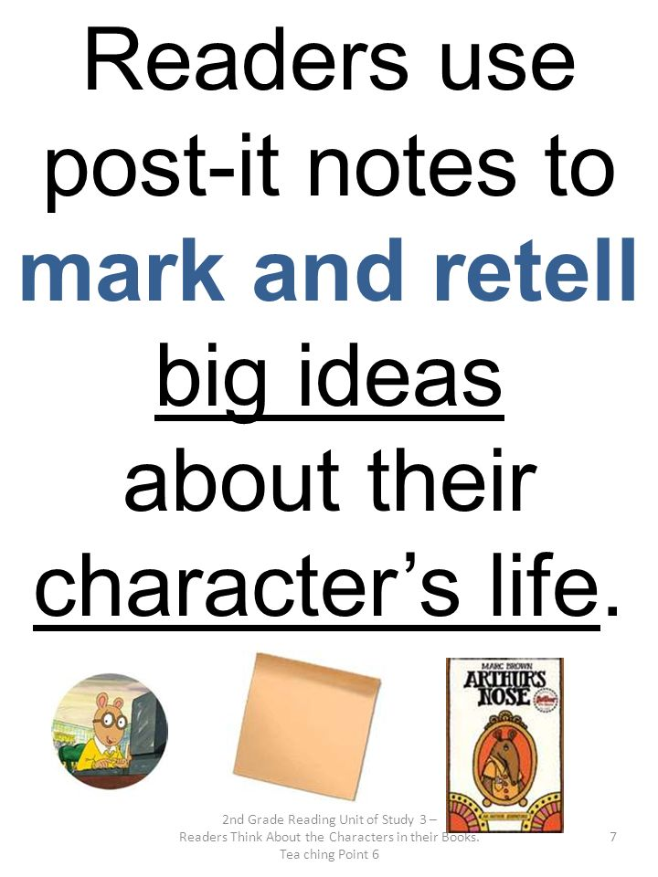 Readers use post-it notes to mark and retell big ideas