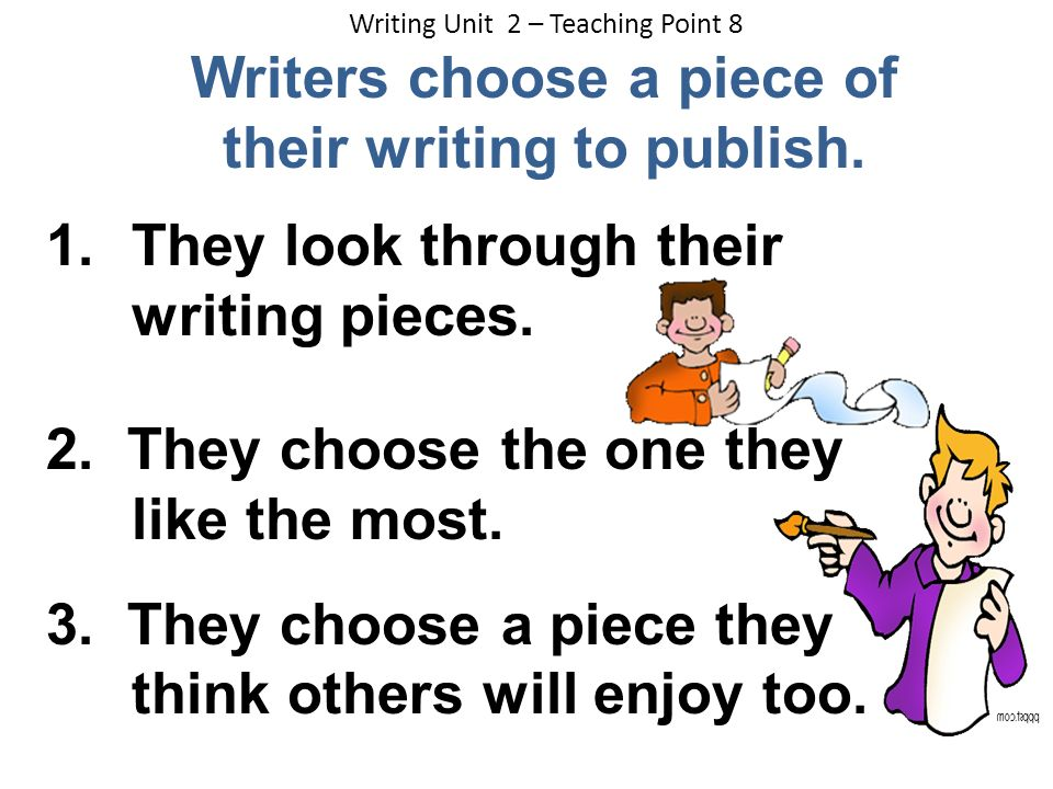 Writers choose a piece of their writing to publish.