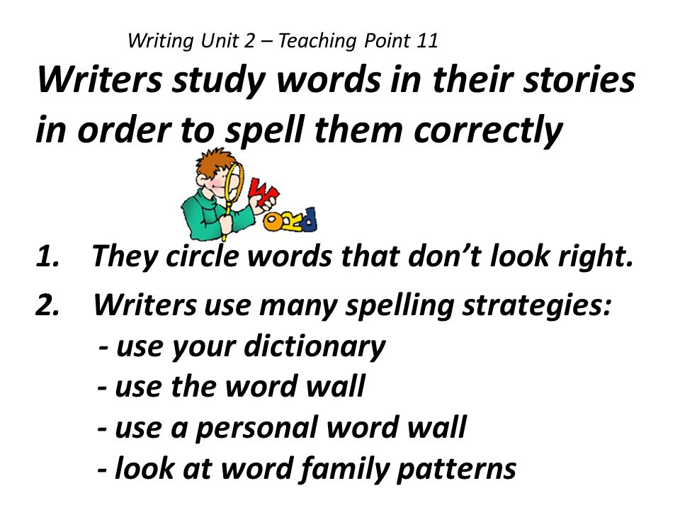 Writers study words in their stories in order to spell them correctly