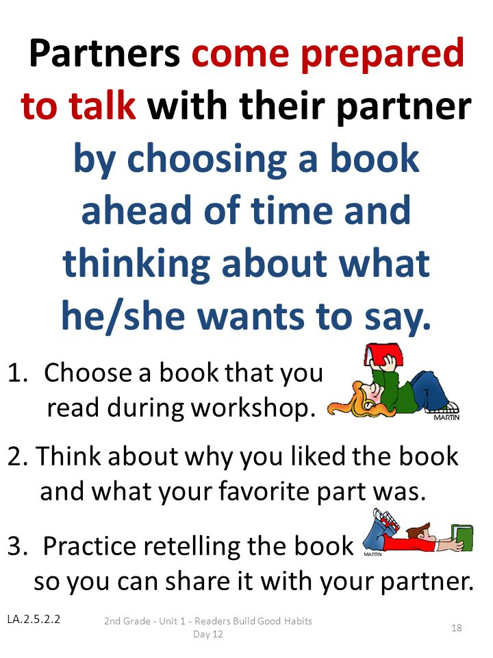 Partners come prepared to talk with their partner by choosing a book
