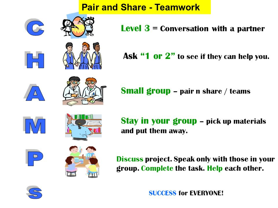CHAMPs Pair and Share - Teamwork Level 3 = Conversation with a partner