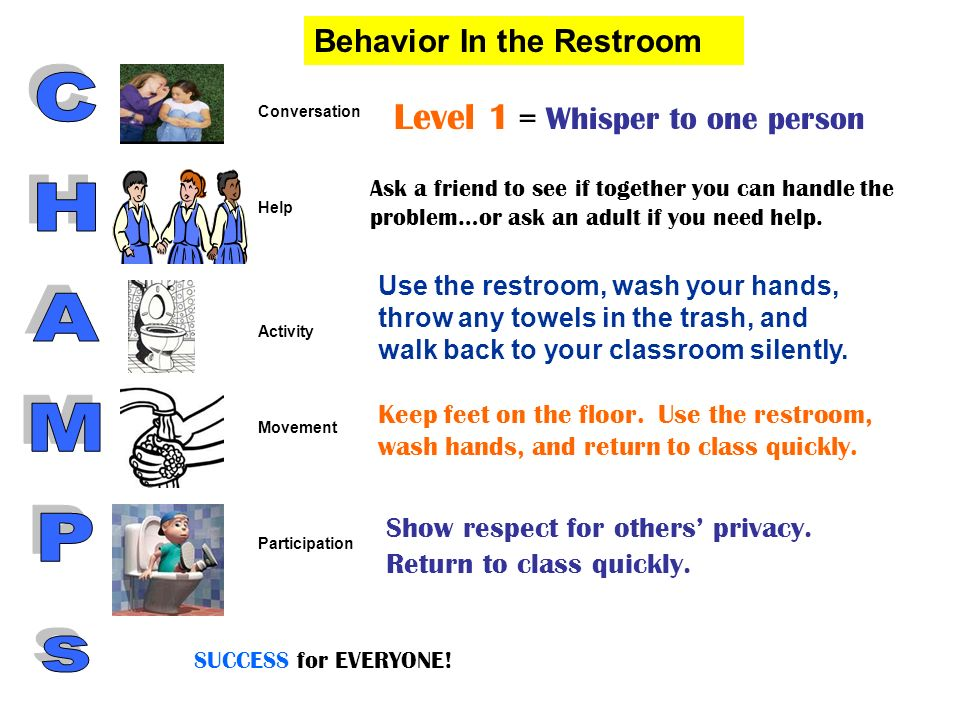 CHAMPs Level 1 = Whisper to one person Behavior In the Restroom