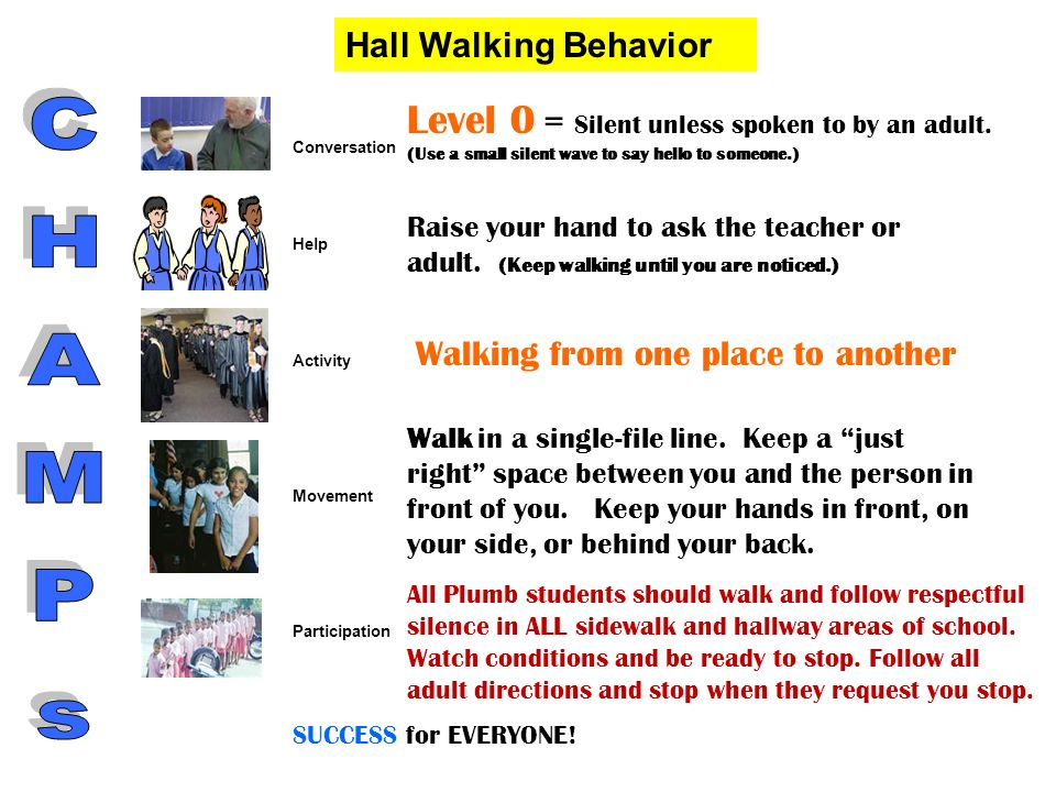 Hall Walking Behavior Level 0 = Silent unless spoken to by an adult. (Use a small silent wave to say hello to someone.)