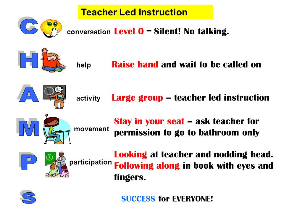 CHAMPs Teacher Led Instruction Level 0 = Silent! No talking.