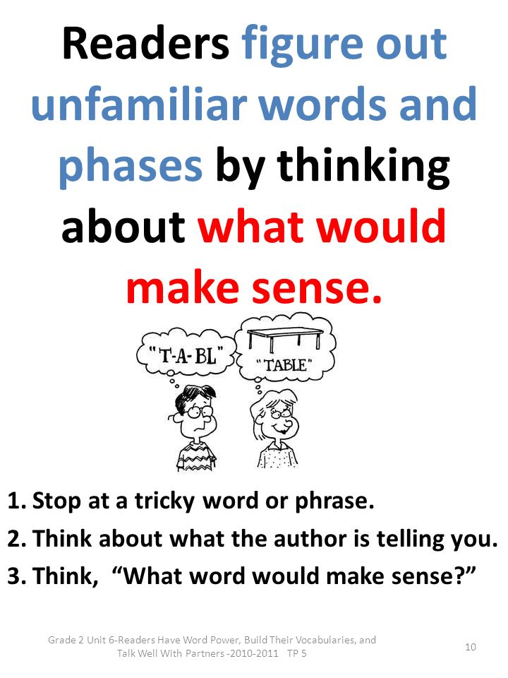 Readers figure out unfamiliar words and phases by thinking about what would make sense.