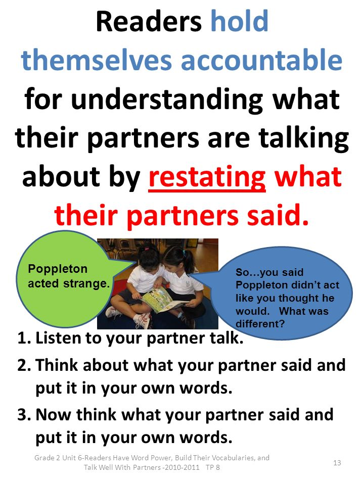 Readers hold themselves accountable for understanding what their partners are talking about by restating what their partners said.