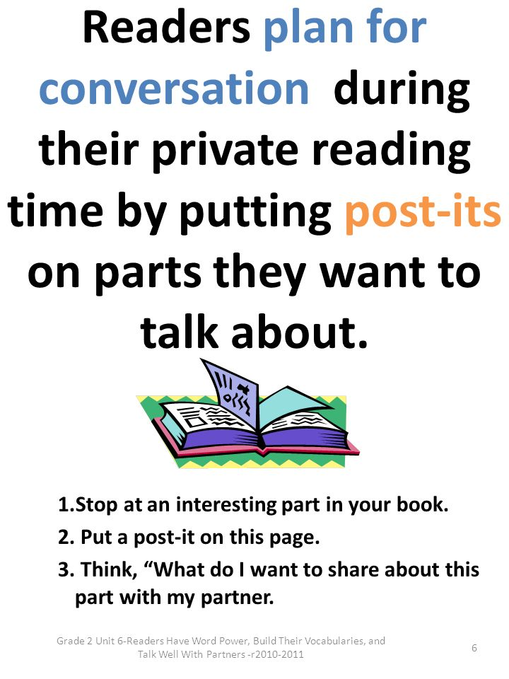 Readers plan for conversation during their private reading time by putting post-its on parts they want to talk about.