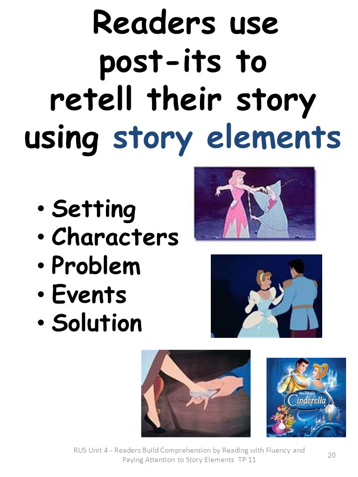 post-its to retell their story using story elements