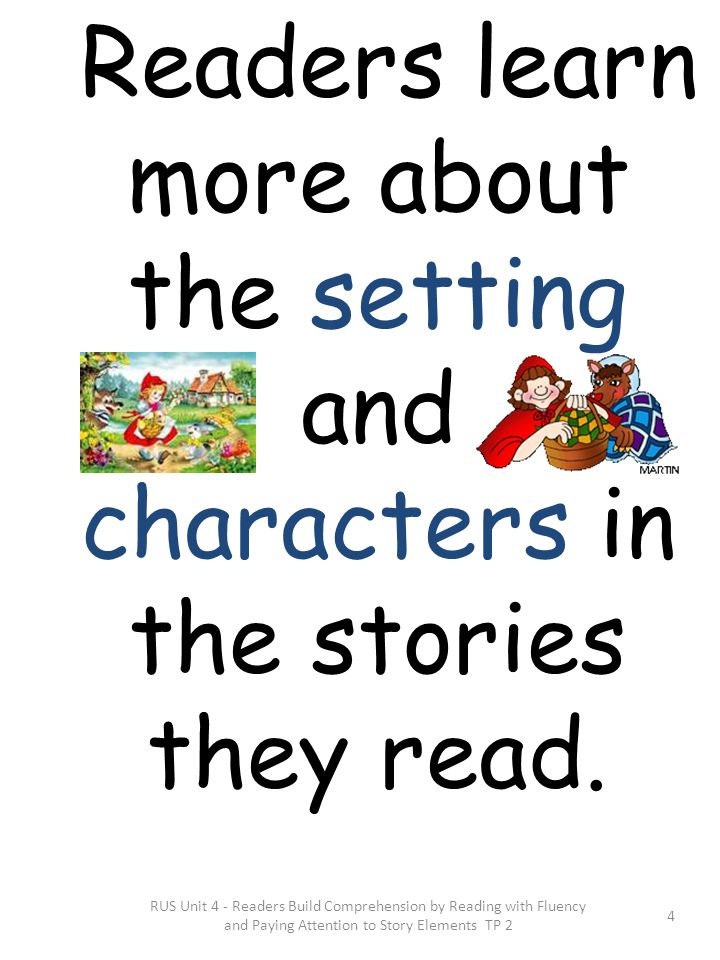 Readers learn more about the setting and characters in the stories they read.