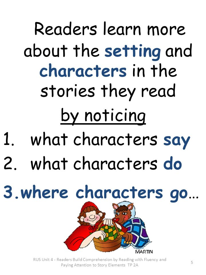 Readers learn more about the setting and characters in the stories they read