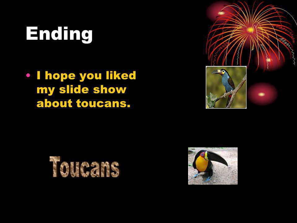 Ending I hope you liked my slide show about toucans. Toucans