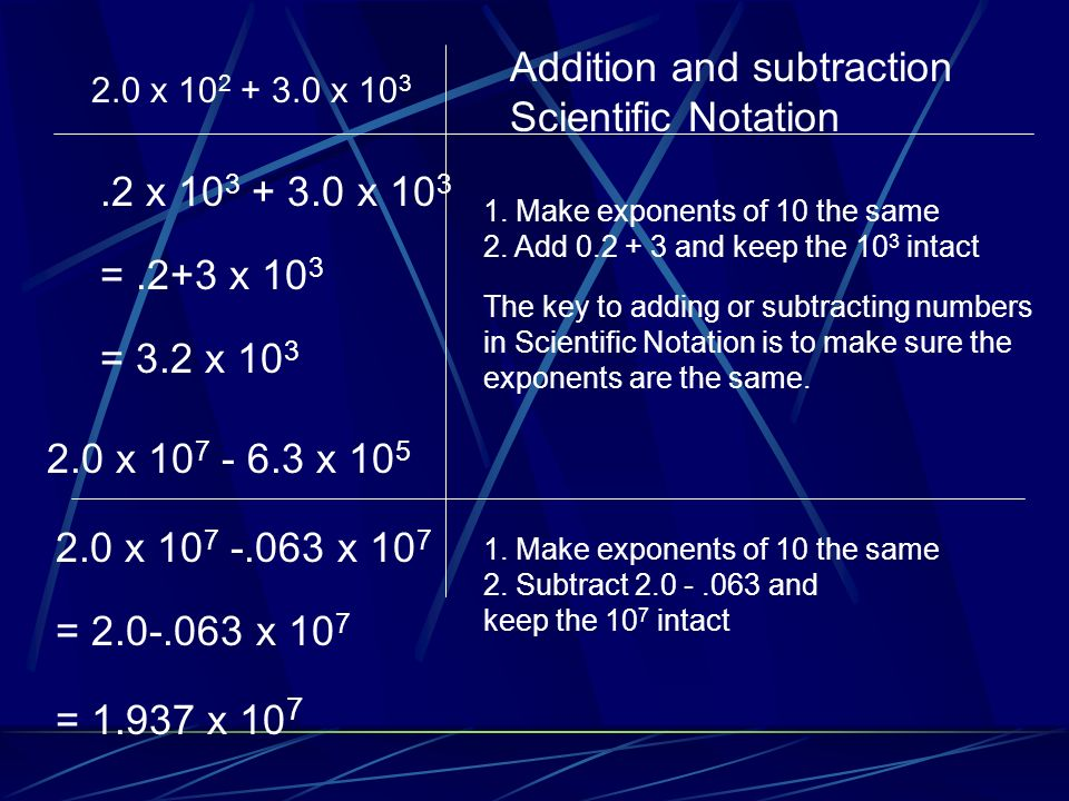 Addition and subtraction Scientific Notation
