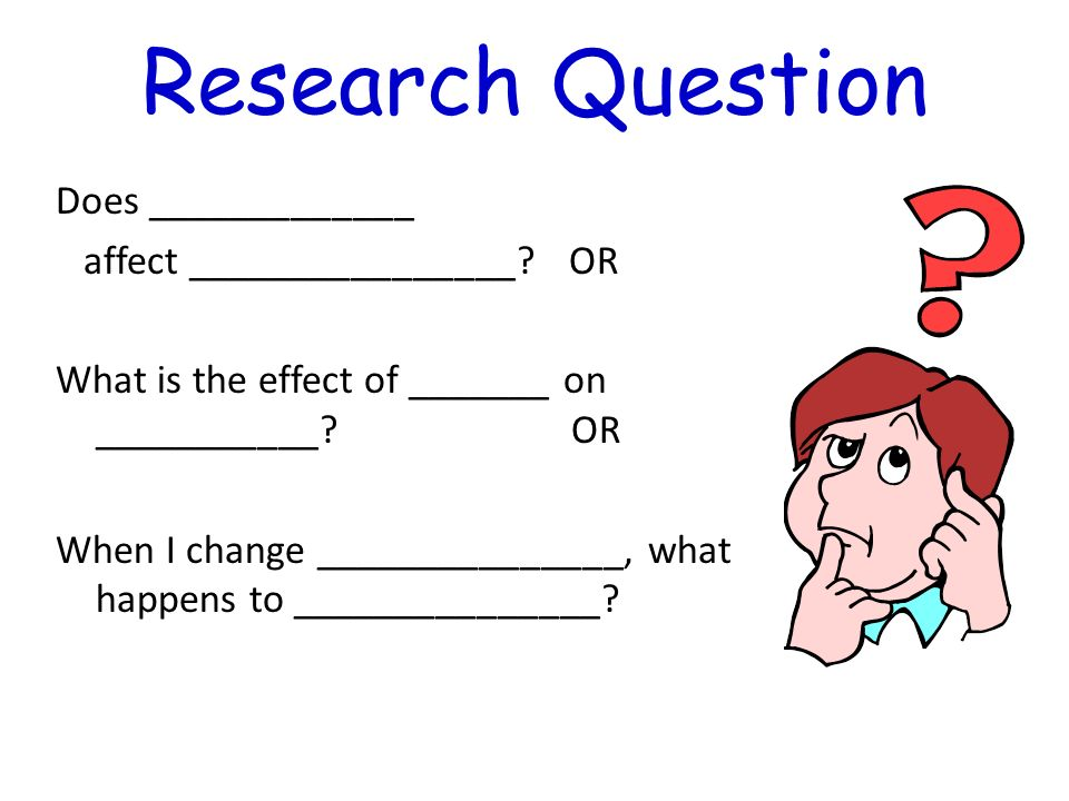 Research Question Does _____________ affect ________________ OR