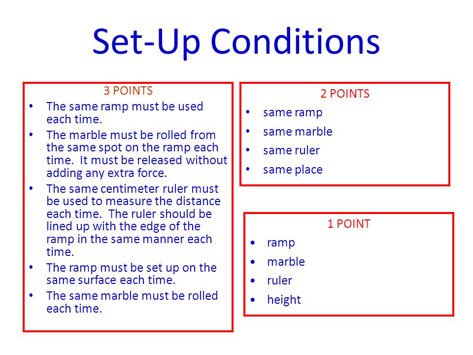 Set-Up Conditions 3 POINTS The same ramp must be used each time.