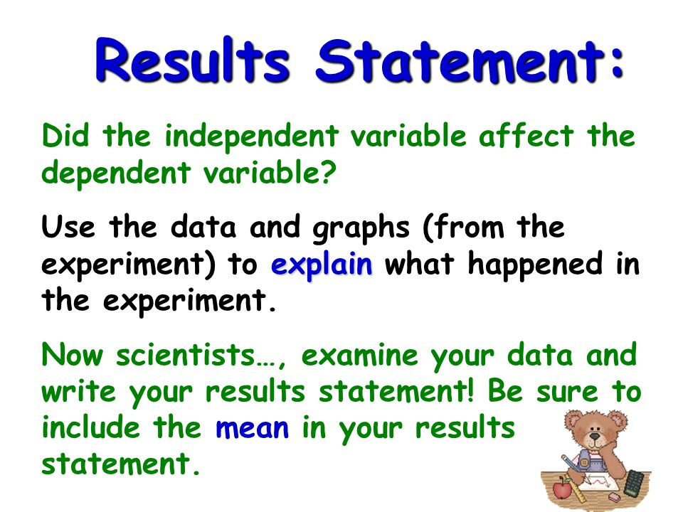 Results Statement: Did the independent variable affect the dependent variable