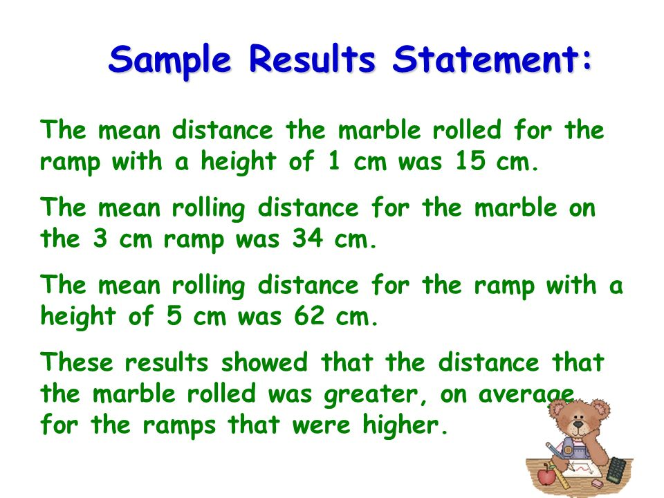 Sample Results Statement:
