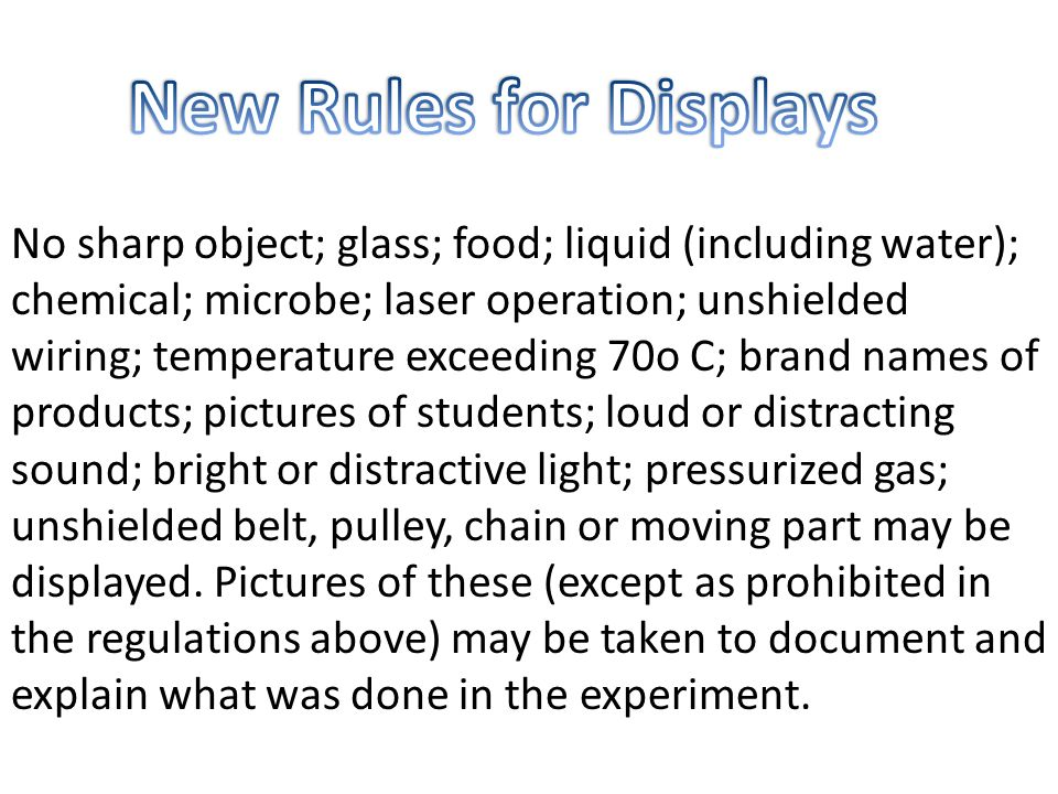 New Rules for Displays