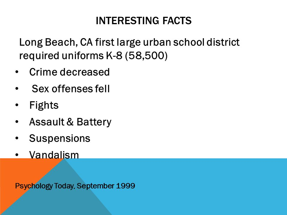 Interesting Facts Long Beach, CA first large urban school district required uniforms K-8 (58,500)