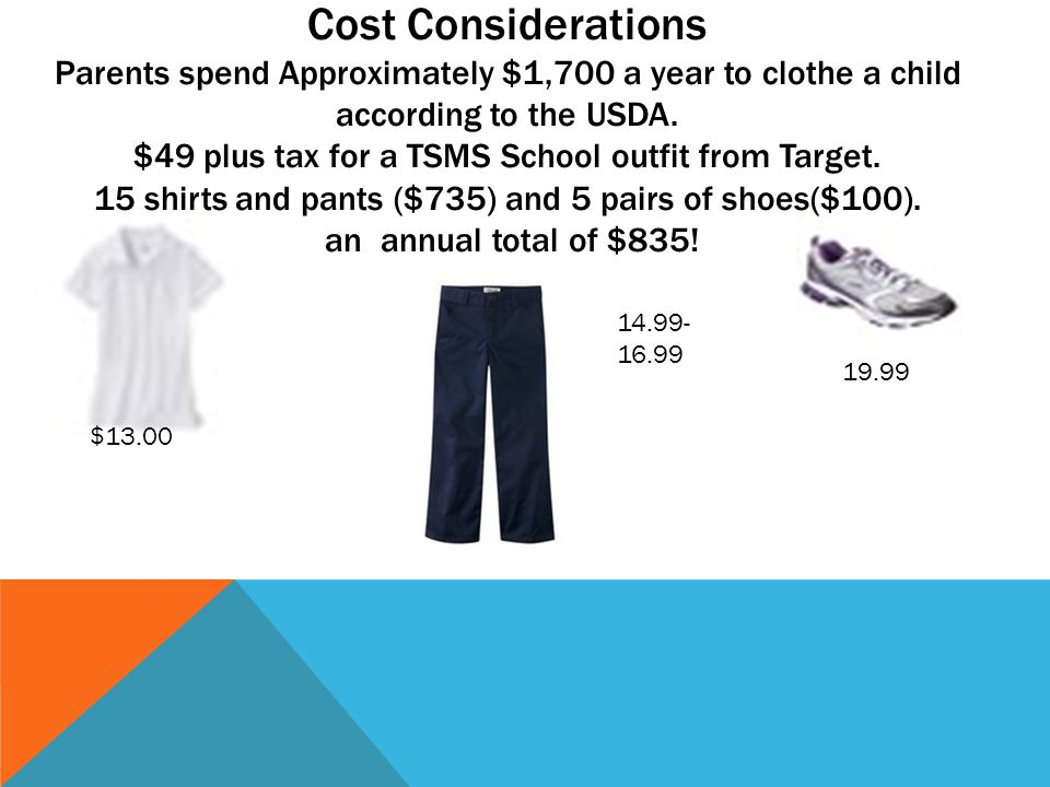 Cost Considerations Parents spend Approximately $1,700 a year to clothe a child according to the USDA. $49 plus tax for a TSMS School outfit from Target. 15 shirts and pants ($735) and 5 pairs of shoes($100). an annual total of $835!