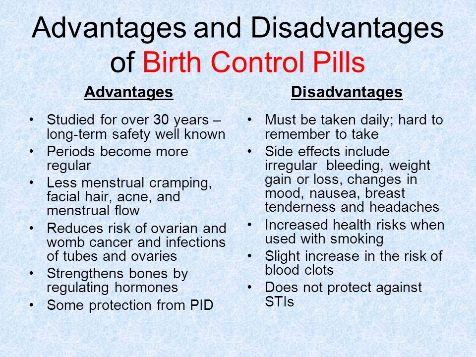 Advantages and disadvantages of oral contraceptives