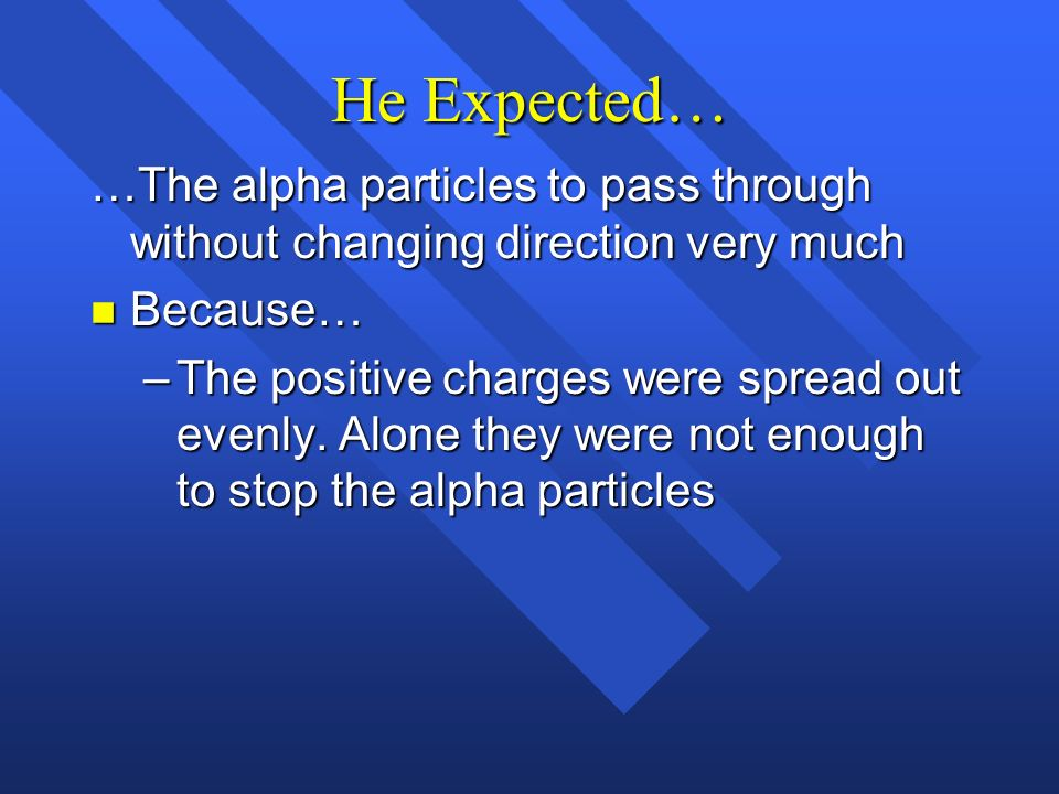 He Expected… …The alpha particles to pass through without changing direction very much. Because…