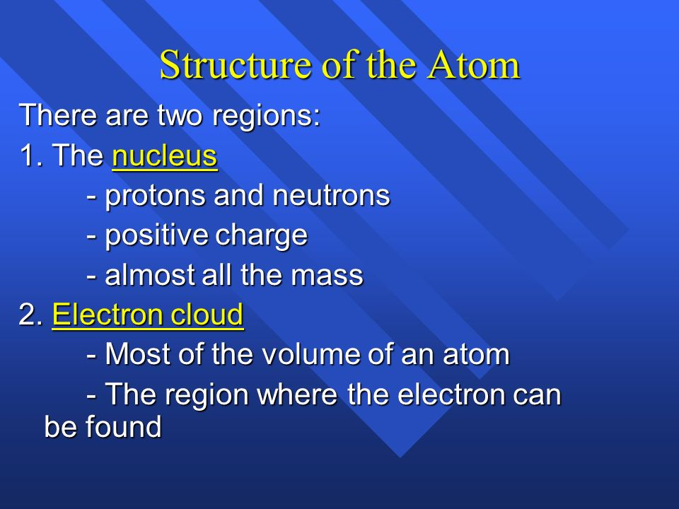 Structure of the Atom There are two regions: 1. The nucleus