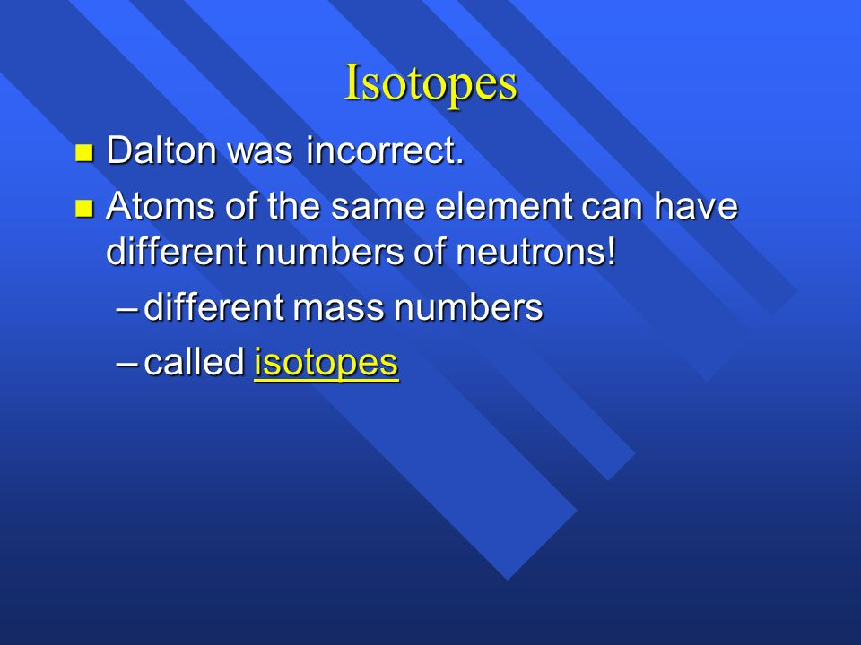 Isotopes Dalton was incorrect.