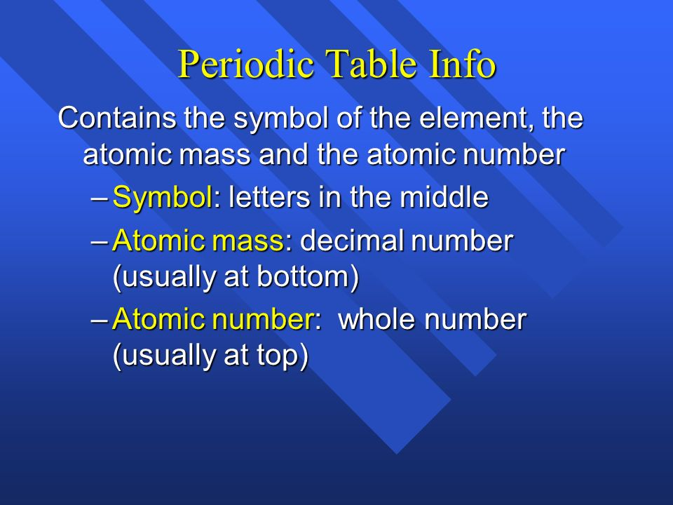 Periodic Table Info Contains the symbol of the element, the atomic mass and the atomic number. Symbol: letters in the middle.