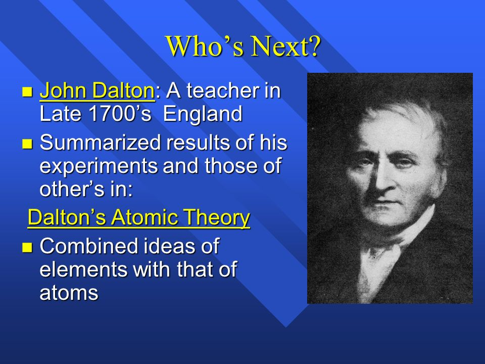 Who's Next John Dalton: A teacher in Late 1700's England