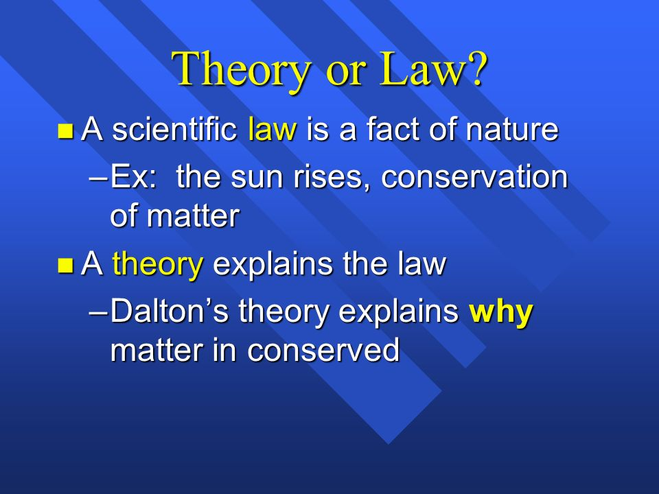 Theory or Law A scientific law is a fact of nature