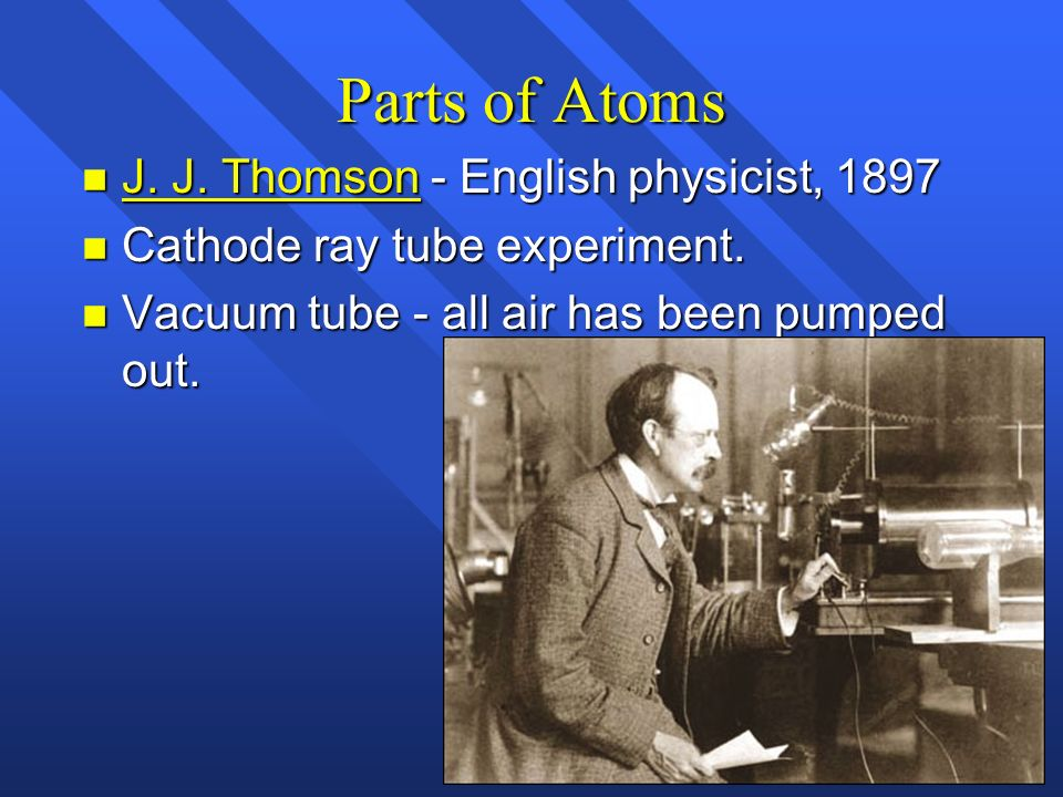 Parts of Atoms J. J. Thomson - English physicist, 1897
