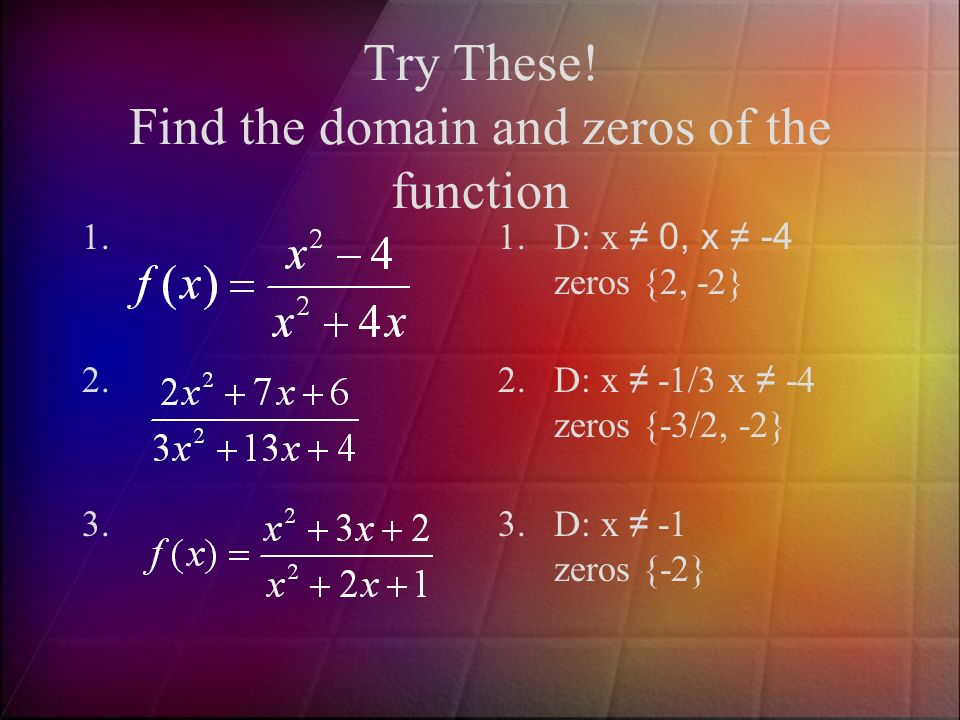 Try These! Find the domain and zeros of the function