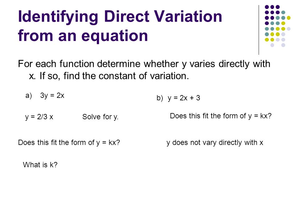 Identifying Direct Variation from an equation
