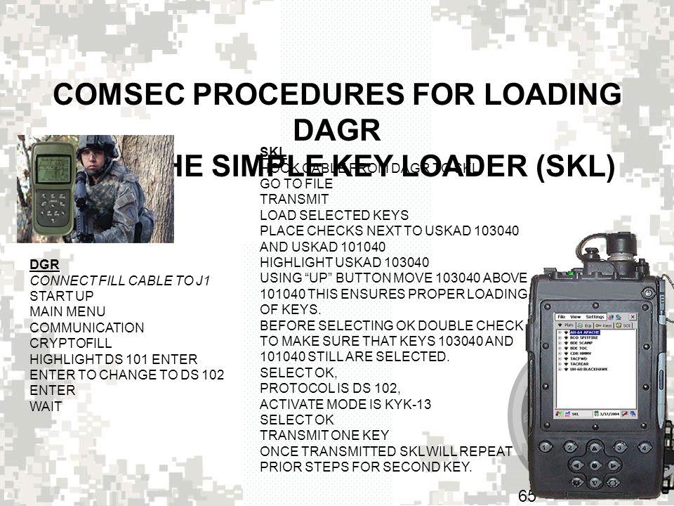 COMSEC PROCEDURES FOR LOADING DAGR WITH THE SIMPLE KEY LOADER (SKL)