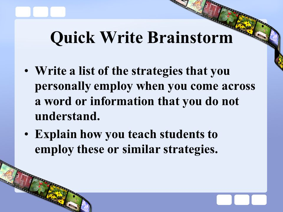 Quick Write Brainstorm