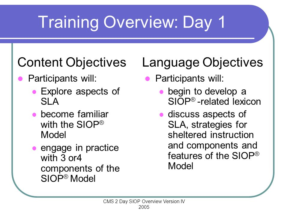 Training Overview: Day 1