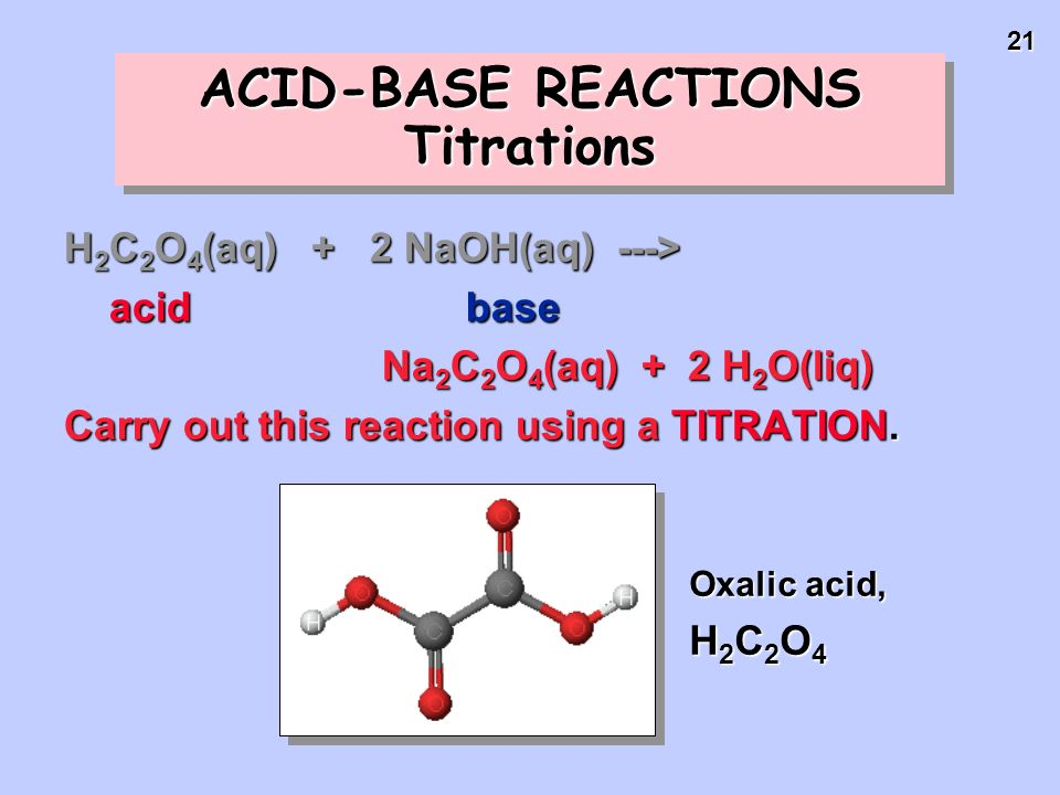 ACID-BASE REACTIONS Titrations