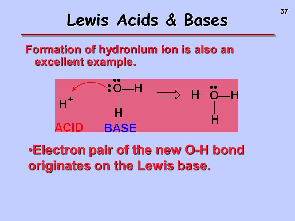 Lewis Acids & Bases Formation of hydronium ion is also an excellent example.