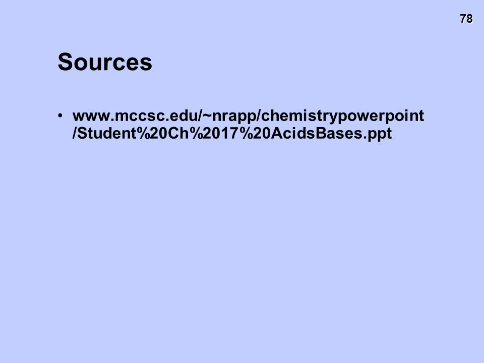 Sources www.mccsc.edu/~nrapp/chemistrypowerpoint/Student%20Ch%2017%20AcidsBases.ppt