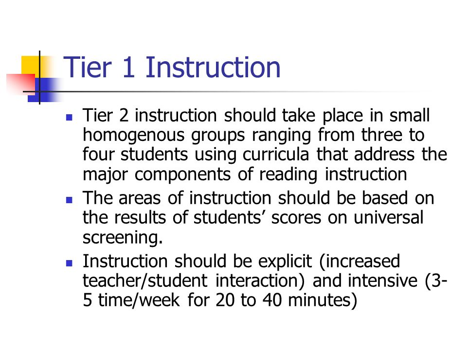 Tier 1 Instruction