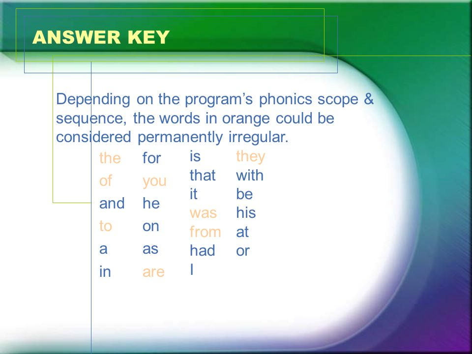 ANSWER KEY Depending on the program's phonics scope &