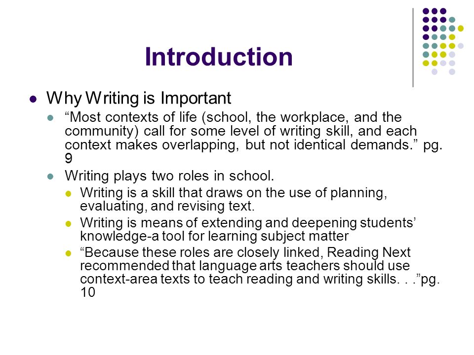Introduction Why Writing is Important