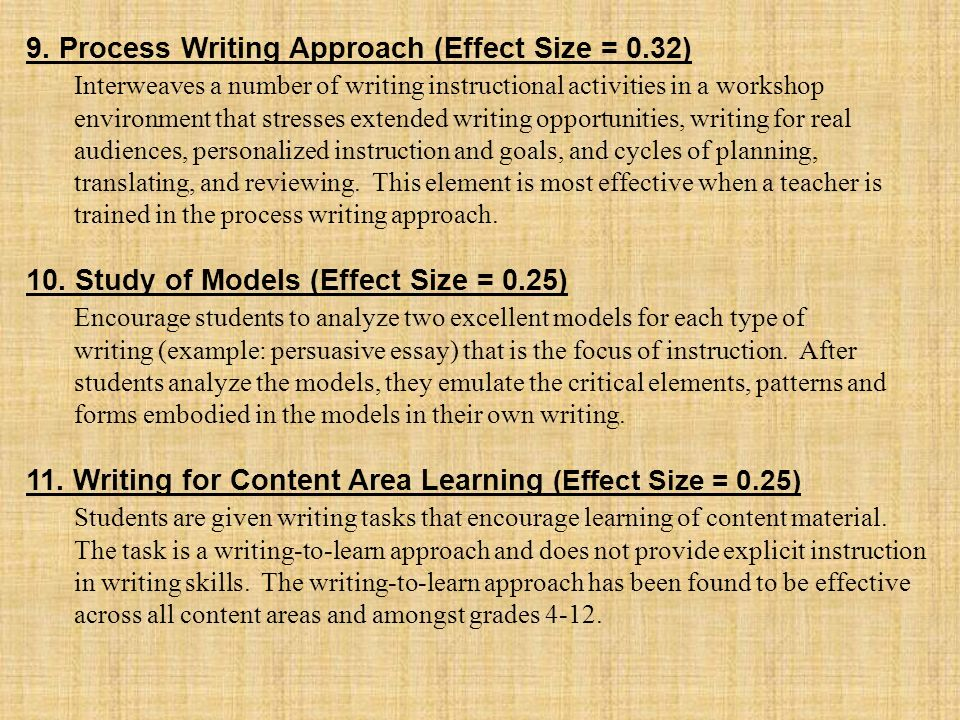 9. Process Writing Approach (Effect Size = 0.32)
